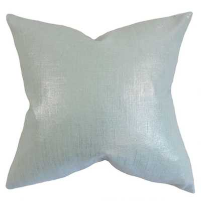 "Florin Solid Pillow Baby Blue - 22"" x 22"" with down Insert - Linen & Seam"