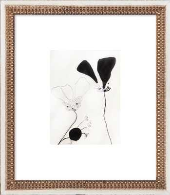 Flower Study 1 - Framed -Distressed Cream Double Bead Wood - Artfully Walls