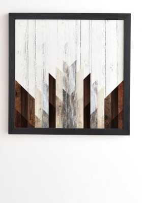 """GEO WOOD 3 Framed Wall Art -30x30"""" - Basic black frame - Wander Print Co."""