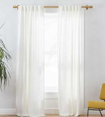 "Linen Cotton Curtain - Stone White, 96"" L, Unlined - West Elm"