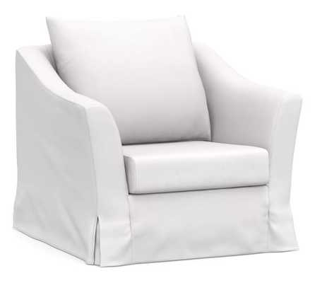 SoMa Brady Slope Arm Slipcovered Armchair, Polyester Wrapped Cushions, Twill White - Pottery Barn