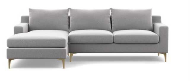 Sloan sofa with Left Chaise ** Ash/ Brass Sloan legs/ Bench seat/ DOWN ALTERNATIVE CUSHION FILL** - Interior Define