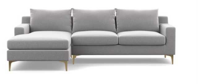 Sloan sofa with Left Chaise ** Ash/ Brass Sloan legs/ Bench seat/ DOWN ALTERNATIVE CUSHION FILL** - Interior Define
