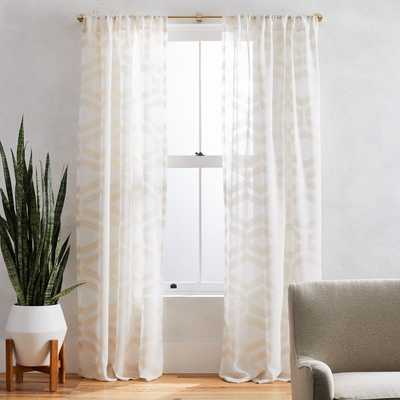 "Sheer Clipped Jacquard Geo Curtain, Ivory, 48""x 108"" - West Elm"