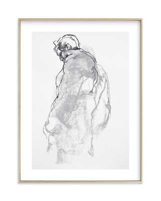 drawing 357 - figure from the side-18x24 -Matt brass frame-Matted - Minted