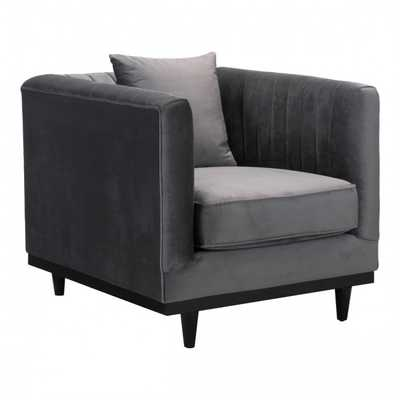 Garland Arm Chair Gray Velvet - Zuri Studios