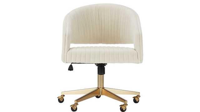 Channel Ivory Velvet Office Chair - CB2