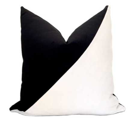 Slash Velvet Pillow Cover - Black and White, Insert Not Included - Willa Skye