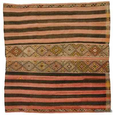 Red, Brown Vintage Sivas Kilim Rug - Kilim