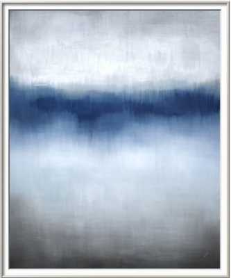 "Linear Blue Horizon - 36"" x 48"", 1"" Crisp Bright White Matt, RONDA Silver Frame - 0.375"" Wide - art.com"