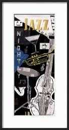 "Jazz Nightly By Katherine & Elizabeth Pope- 13"" x 25""- Frame Ronda Ii Black - art.com"