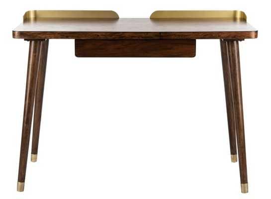 Parker 1 Drawer Desk - Walnut/Gold - Arlo Home - Arlo Home