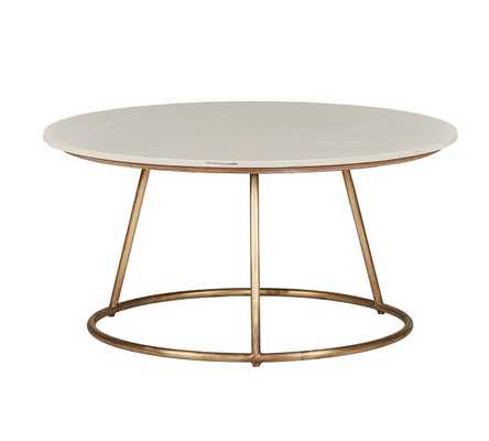 """Blair 35.5"""" Round Marble Coffee Table - Pottery Barn"""