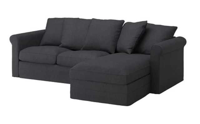 GRÖNLID Sofa, with chaise, Sporda dark gray - Ikea