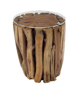 Nuzzo Teak And Glass End Table - AllModern