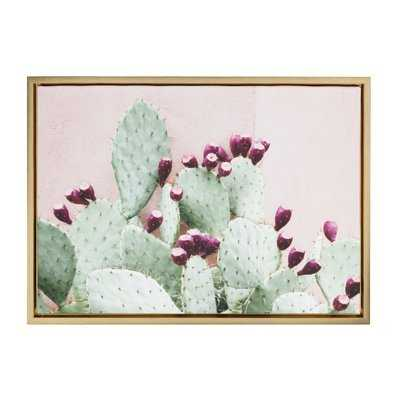 'Cactus 25 Gold' Framed Photographic Print on Wrapped Canvas - Wayfair