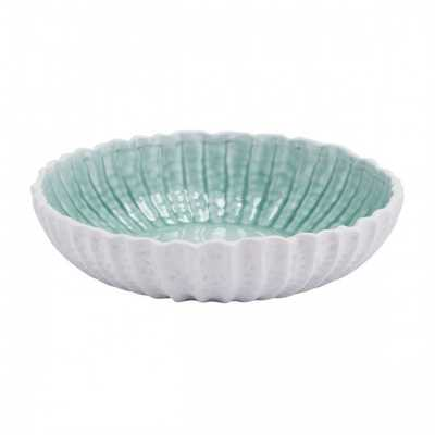 Fiore Large Bowl White & Green - Zuri Studios