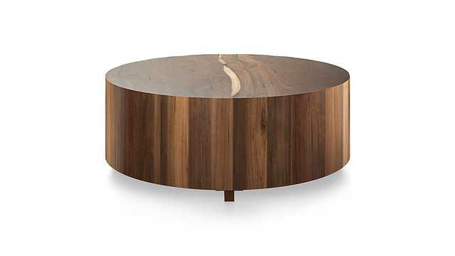 Hudson Natural Yukas  Round Wood Coffee Table - Crate and Barrel