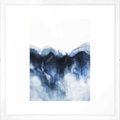 Abstract Indigo Mountains Framed Art Print 22x22 - vector white - Society6