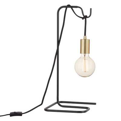 Globe Electric Designer Series 18 in. Black Table Lamp with Black Fabric Cord and Brass Exposed Socket - Home Depot