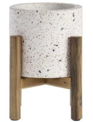 White Terrazzo Planter With Mango Wood Stand - World Market/Cost Plus