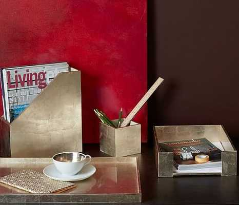 Lacquer Office Accessories, Pencil Cup, Antique Silver - West Elm