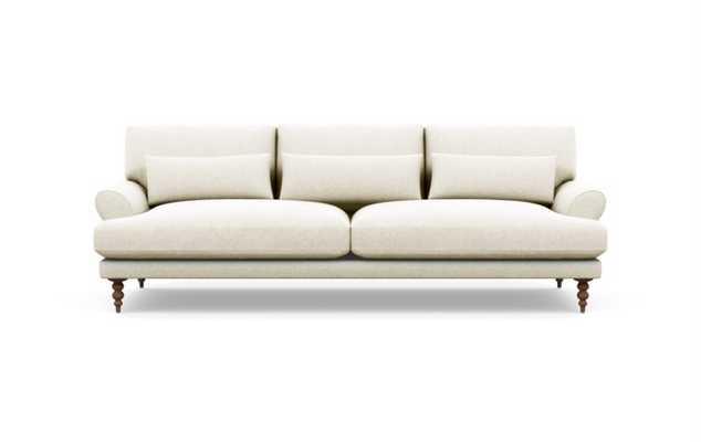 "MAXWELL Fabric Sofa - Vanilla Static Weave - Oiled Walnut Tapered Turned Wood - 90"" - Interior Define"
