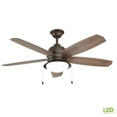 Home Decorators Collection Ackerly 52 in. Integrated LED Indoor/Outdoor Bronze Ceiling Fan with Light Kit - Home Depot