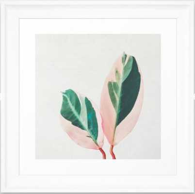 "Pink Leaves I Framed Art Print White Frame 12""x12"" - Society6"