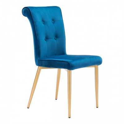 Niles Dining Chair Blue Velvet, Set of 2 - Zuri Studios