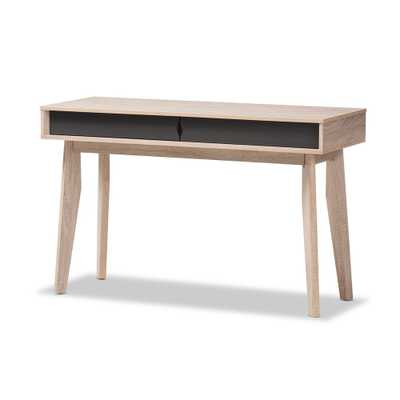 BAXTON STUDIO FELLA MID-CENTURY MODERN 2-DRAWER OAK AND GREY WOOD STUDY DESK - Lark Interiors