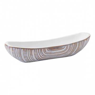 White Poly Bowl Antique White - Zuri Studios