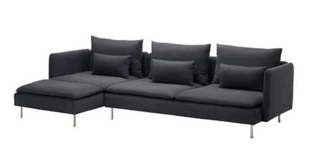 SÖDERHAMN Sectional, 4-seat, with chaise Samsta, Samsta dark gray - Ikea