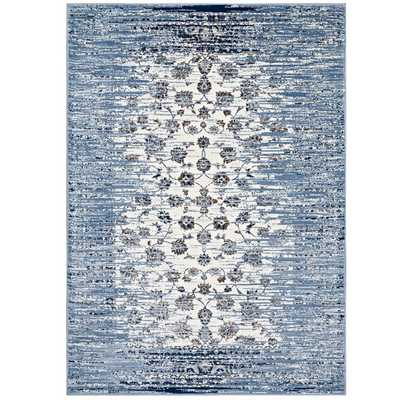 CHIARA DISTRESSED FLORAL LATTICE CONTEMPORARY 8X10 AREA RUG IN MOROCCAN BLUE AND IVORY - Modway Furniture