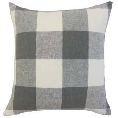 "Amory Plaid Pillow Coal - 18"" x 18"" - Down Insert - Linen & Seam"