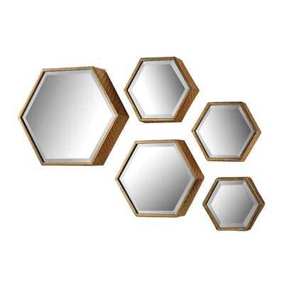 Acorn Grove 5 Piece Hexagonal Mirror Set - Wayfair