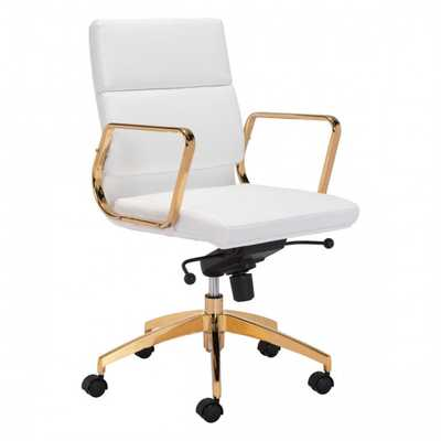 Scientist Low Back Office Chair Wht & Gd - Zuri Studios