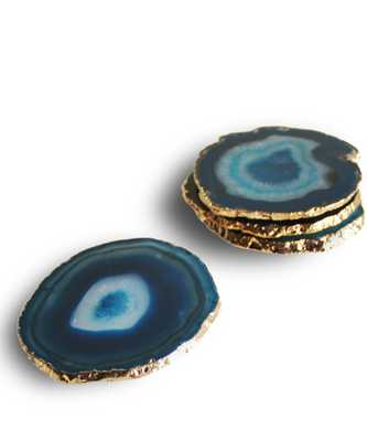 Gold Plated Agate Coasters, Aqua (set of 4) - High Street Market