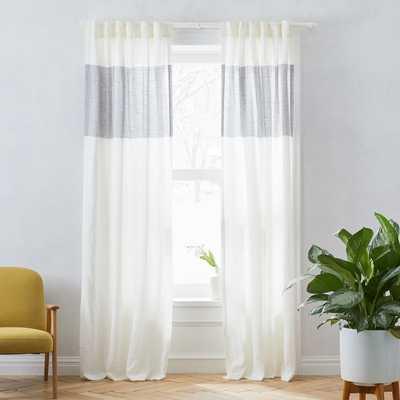 "Belgian Flax Linen Contrast Stripe Curtain, Stone White/Slate, 48""x84"" - West Elm"