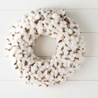 Faux Cotton Burst Wreath - Birch Lane