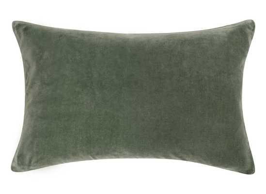Charlotte Velvet Lumbar Pillow, Moss, 13x20 - Lulu and Georgia