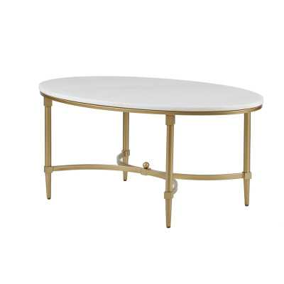Madison Park Signature Bordeaux Goldtone Metal Oval Coffee Table with White Marble Top - Wayfair