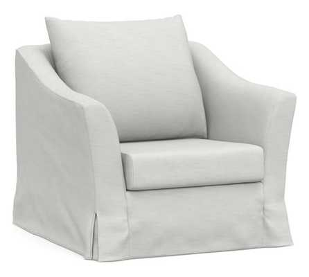 SoMa Brady Slope Arm Slipcovered Armchair, Polyester Wrapped Cushions, Performance Slub Cotton White - Pottery Barn