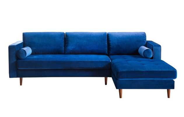 Josephine Navy Velvet Sectional RAF - Maren Home