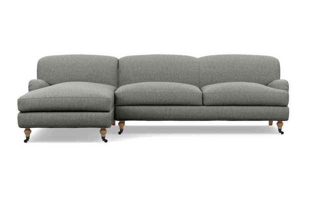 """ROSE BY THE EVERYGIRL Sectional Sofa with Left Chaise, Plow Cross Weave Fabric, White Oak with Antique Caster Legs, 105"""" L - Interior Define"""