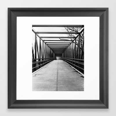 Bridge to Nowhere Black and White Photography Framed Art Print - Society6