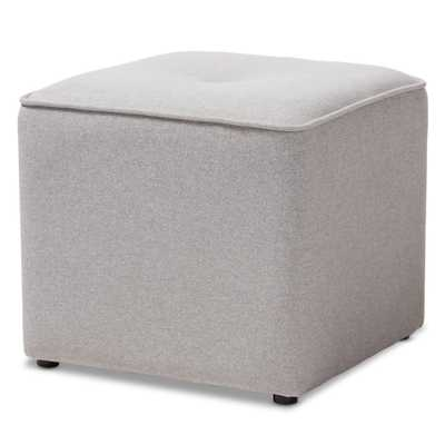 BAXTON STUDIO CORINNE MODERN AND CONTEMPORARY LIGHT GREY FABRIC UPHOLSTERED OTTOMAN - Lark Interiors