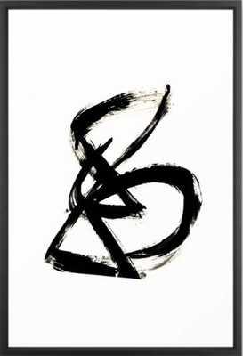 Brushstroke 3- simple black and white Framed Art Print - Society6