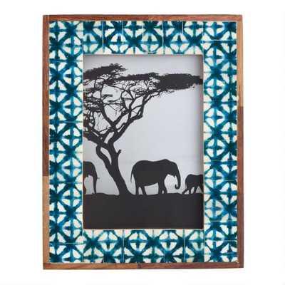 "African Mud Cloth and Shibori Bone Frame: Blue - 5""x7"" - World Market/Cost Plus"