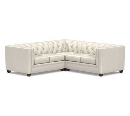 Chesterfield Square Arm Leather 3-Piece L-Shaped Corner Sectional, Polyester Wrapped Cushions, Signature Chalk - Pottery Barn